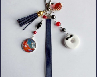 Donut Baymax Keychain, Ribbon and blue tassel night, red beads