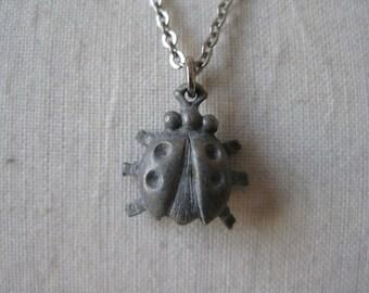 Bug Necklace Pewter Silver Vintage