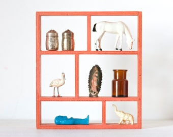 Small Display Shelf - Square in Salmon - Small Shadow Box
