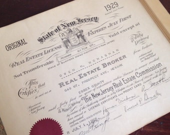 Antique 1929 New Jersey Real Estate License. Office Wall Decor. Paper Ephemera.