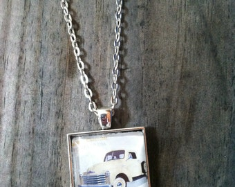 Pickup Necklace, Postage Stamps Jewelry, Vintage Truck Necklace, Stamp Necklace, Stamp Pendant, Mailman Gift, Pendant Necklace, Truck