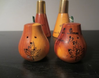 2 Sets Vintage Wood Salt and Pepper Shakers 1960's