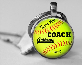 Softball Coach Trophy Personalized Glass Thank you Photo Necklace or Key Chain Team Awards Coach Gift Recognition Coach thank you Bag Tag