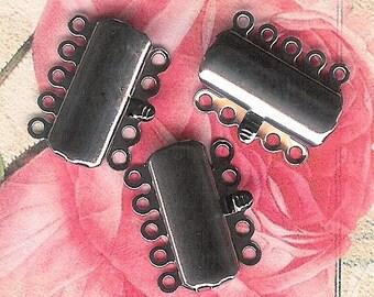Gunmetal 15mm Clasp, Five Strand Clasp, Multi-Strand Clasp, 5-Strand Gunmetal Clasp, Black Oxide Clasp, Multi-Strand Gunmetal Push Clasp