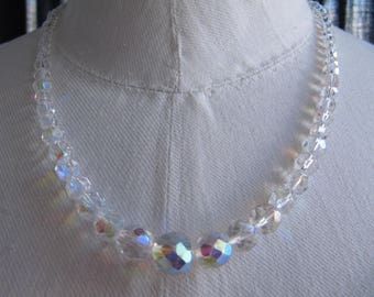 Vintage necklace, Aurora Borealis crystal beads.