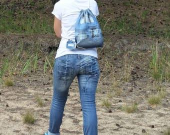 "Denim backpack ""Magic Mint"", Garyusha Denim Bags Design, Denim 100%, Upcycled Jeans Backpack, Handmade Vintage Backpack, Blue Jeans Backpack"