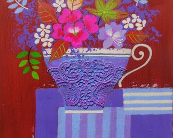 Original Acrylic Painting on Wood Panel - Petite Floral bouquet in a Tea Cup