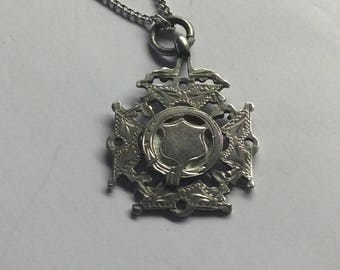 Victorian Sterling silver medallion pendant and necklace #674-S