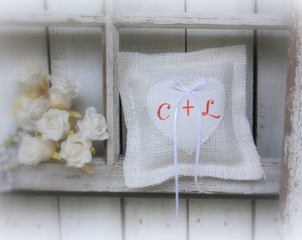 Ring Bearer pillow with a vintage feedsack heart,Personalized with your initailas