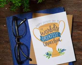 Happy Father's Day to the World's Greatest Grandpa, Father's Day Card, Best Grandpa Ever, Greeting Card, Unique, Trophy, Cute Father's Day
