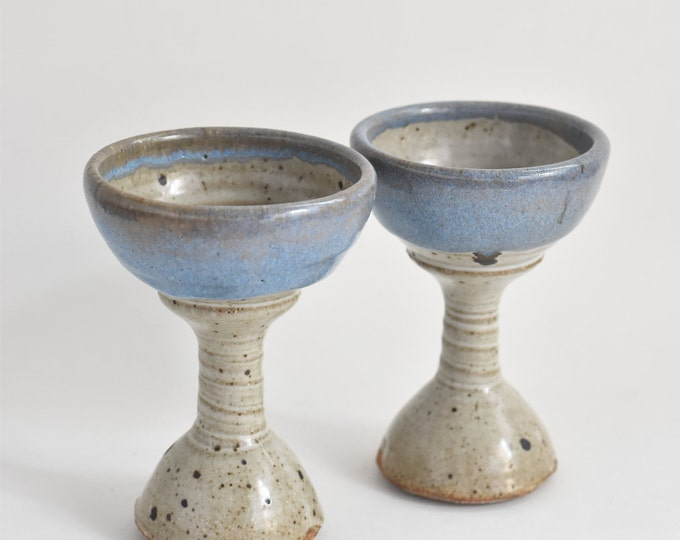pair of gorgeous light blue stoneware ceramic pottery goblets / stemware
