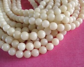 Natural beads 10 white  buri beads 10mm