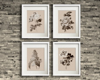 Sepia Gray Flowers - 4 Print Set, Botanical Floral Art Prints, French Country Cottage, Modern Farmhouse Chic Style Artwork, Home Decor Art