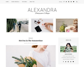 Alexandra Wordpress theme - Feminine wordpress theme - Responsive WordPress Theme - Blog template - Fashion template - Wordpress blog theme
