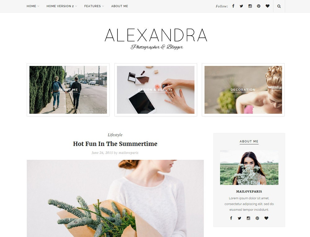 Alexandra Wordpress theme Feminine wordpress theme