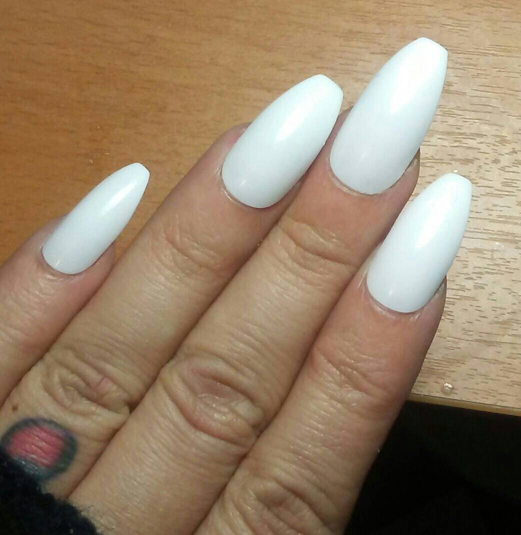 White Wedding Coffin Nails, Matte or Glossy, Long or Short, Press on ...