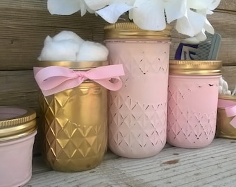 Pink and Gold Nursery Decor-Baby Shower gift-Cottage Chic Masons Jars-Organizer-Baby Shower Decor-Centerpiece-Birthday Decor-New baby Gift