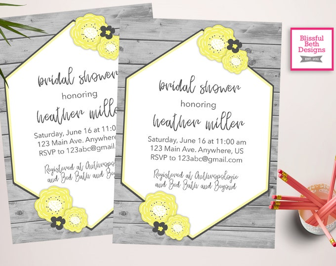 Yellow and Grey Bridal Shower, Bridal Shower, Flowered Bridal Shower, Yellow and Gray Shower,  Shabby Chic Bridal Shower