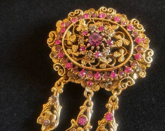 Vintage Kramer Oval Gold Tone Filigree Brooch, Pin with Pink Rhinestones and Pendant Conversion