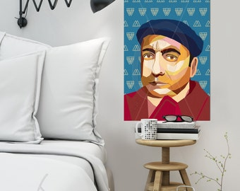 """Portrait """"Pablo"""" - Tribute To Pablo Neruda personalized framed pop art gift for book lovers wallart XL art prints iconart  Ready To Hang"""