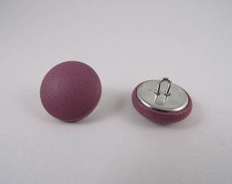 6 20mm lilac leather covered buttons