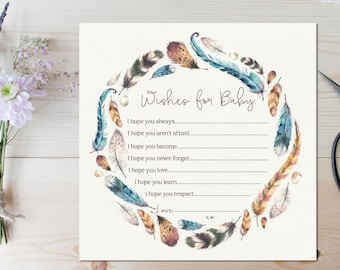 """Wishes for Baby Card // Baby Shower Extra // Boho Baby Shower Wishes // Feather // 6x6"""" // INSTANT DOWNLOAD"""