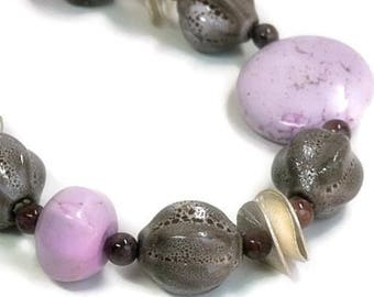 Sale| Purple Gemstone Necklace - Genuine Dyed Turquoise - Muscovite - Chunky - Statement - December Birthstone - Asymmetrical - Lilac - Moch