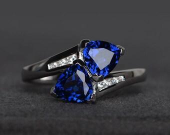 blue sapphire ring promise ring trillion cut blue gemstone sterling silver ring September birthstone