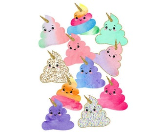 Set of 11 'Poopsicorn' Unicorn Poop Die Cuts Ephemera