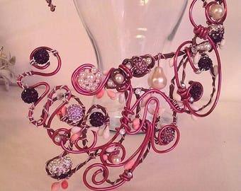 """Asymmetrical necklace """"Aluminium So Chic"""""""