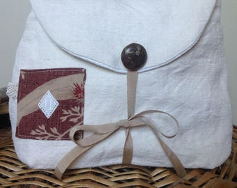Kit made from old linen ecru and taupe, small Monogram U