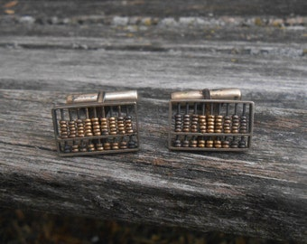 Vintage Sterling Silver Abacus Cufflinks. Gift For Groom, Groomsmen, Dad, Wedding, Anniversary, Christmas, Birthday, Father's Day.