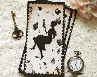 "Postcard - illustrated postcard - Miss Shadow - Wonderland- victorian illustration - ""Miss Shadow in Wonderland"""