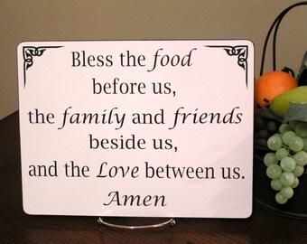 Bless The Food Before Us, Sign, Kitchen & Dining Room Decor, Dinner Table Prayer, Christian Gift, Wall art, Blessing, Dinner Blessing Sign
