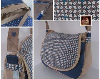 To order: shoulder bag / satchel suede Navy mustard graphic pattern