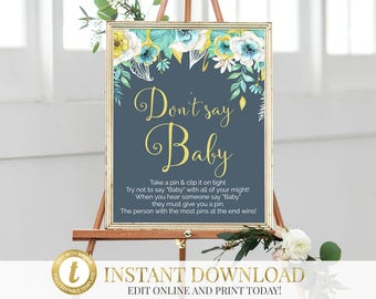 Don't Say Baby Baby Shower Game, Don't Say Baby Game, Clothes Pin Game, Don't Say Baby Sign, Baby Shower, Diaper Pin Game, INSTANT DOWNLOAD