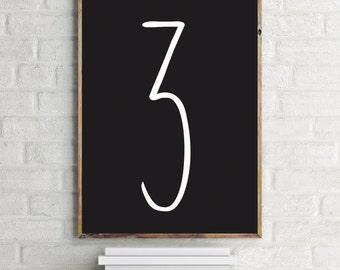 Three Print, 3 Art, Number, Modern Art Print, Digital Wall Print, Home Decor, Cool Poster