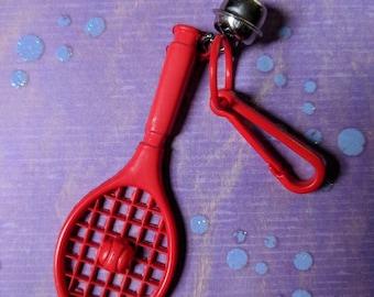 Vintage Bell charm red tennis racket sports - Charm Bracelet - Necklace - Retro Keychain clip - Zipper Pull - Kitsch Kawaii sporty Mini 80s