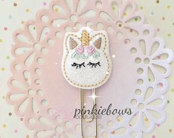 White/Gold/Dreaming Unicorn/Sparkle Applique Paper Clip/Planner Clip/Bookmark/Journal Marker
