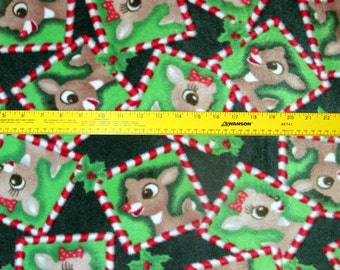 Rudolph the red nose reindeer Christmas Fleece Fabric BTY RARE