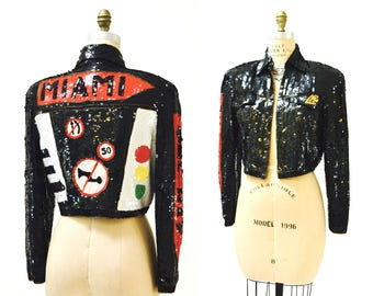 Vintage Sequin Jacket Black Miami Sequin Patch Jacket By Modi Medium// Vintage Sequin Jacket Florida Street Signs USA America Pop Art