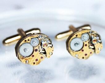 Rare BULOVA Steampunk Cufflinks - Damaskeening Gold Vintage Watch Movement-  Matching Men Steampunk Cufflinks Wedding Valentines Day Gift