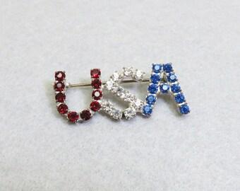 Vintage Red White and Blue Rhinestone U S A Pin,  1960s Rhinestone Pin