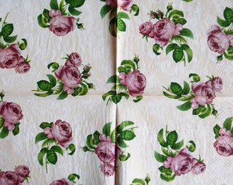 TOWEL in paper beautiful little pink roses #F072