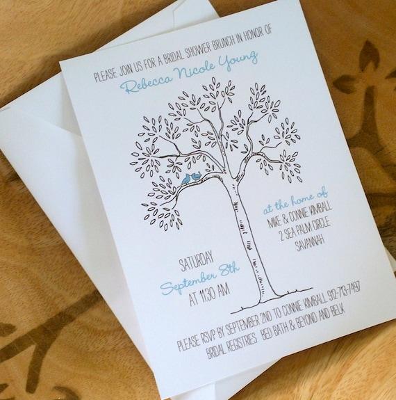 Tree Themed Wedding Ideas: Items Similar To Love Bird Bridal Shower Invitation