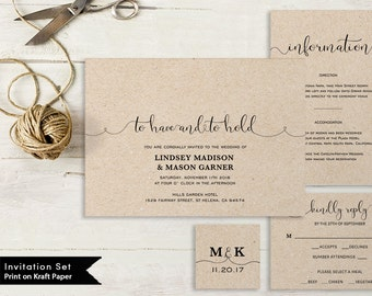 Printable Wedding Invitation Template, Wedding Invitation Set, DIY Wedding Invites, Instant Download PDF To Have and To Hold #SPP003wis