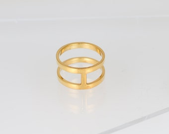 Cage Ring -- Silver Bar Ring, Gold Double Bar Ring, T-Bar Ring, Geometric Ring, Minimalist Ring, Gold Stacking Ring, Simple Gold Ring