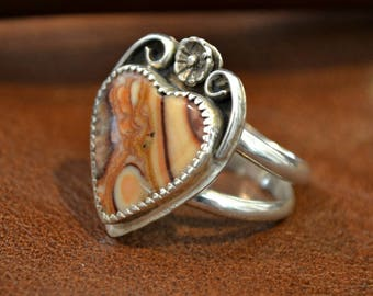 Sterling silver heart ring with wave hills dolomite custom stone. size 7