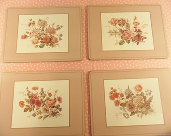 Vintage Cork Place Mats - Floral Place Mats - English Life - Made In England