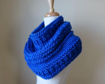 Knit Cowl, Knit Neck Warmer, Textured Cowl Neck Warmer in Royal Blue - Acrylic - Soft Cowl - Warm Cowl - Gift for Her